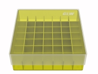 Storage box for 49 tubes, yellow, b47y