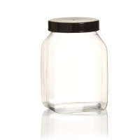 Wide-necked pot with black cap 500ml