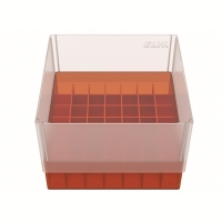 Storage box for 49 tubes, red, b97r