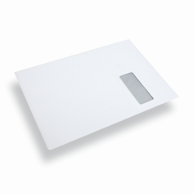 Enveloppe papier a4 c4 blanc fen tre droite for Enveloppe avec fenetre