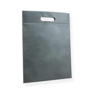 Non Woven draagtas 30x40cm zilvergrijs uitgestanst handvat