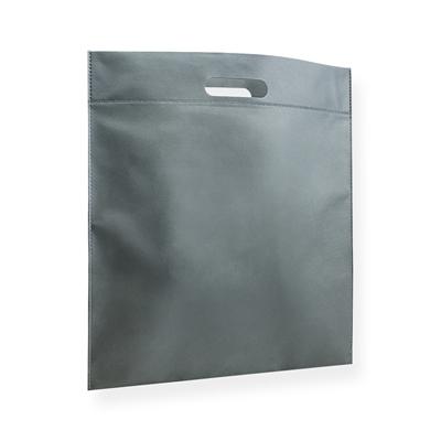 Non Woven draagtas 40x45cm zilvergrijs uitgestanst handvat