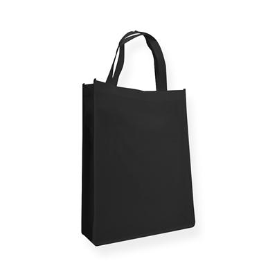 Non Woven draagtas 31+10x41cm zwart met hengsels