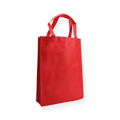 Non Woven draagtas rood 31+10x41cm met hengsels