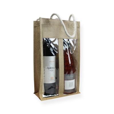 Jute Wijntas 35x20x10cm (2 flessen)