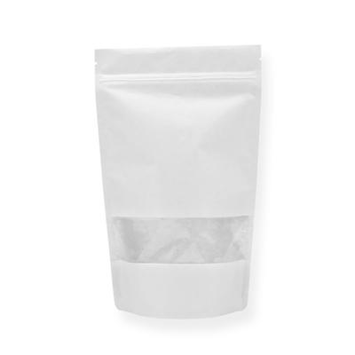 250ml - Doypack Zip Papier Kraft Blanc/PE avec Fenêtre