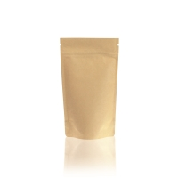 Lamizip Kraft Paper Stand Up Pouches with valve 100 mm x 195 mm Brown