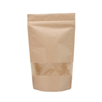 Lamizip Kraft Paper Stand Up Pouches with window 140 mm x 235 mm Brown