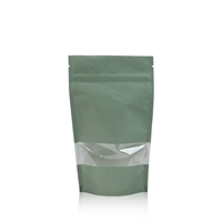 Lamizip Kraft Paper Stand Up Pouches with window 140 mm x 235 mm Green