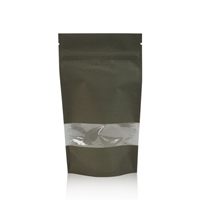 Lamizip Kraft Paper Stand Up Pouches with window 160 mm x 265 mm Dark green