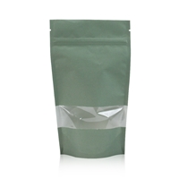 Lamizip Kraft Paper Stand Up Pouches with window 185 mm x 295 mm Green