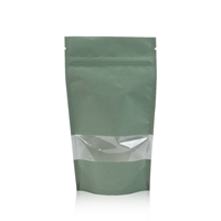 Lamizip Kraft Paper Stand Up Pouches with window 160 mm x 265 mm Green