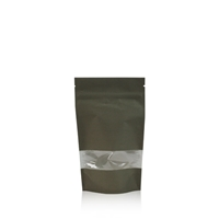 Lamizip Kraft Paper Stand Up Pouches with window 100 mm x 195 mm Dark green