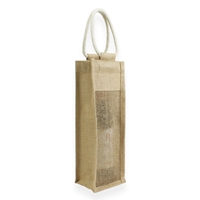 Jute wine Carrier Bag Brown