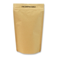 Kraft / PLA Compostable Stand Up Pouches 160 mm x 277 mm Marron