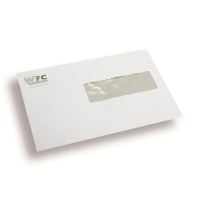 Printed Envelopes, 3 colours, window right 162 mm x 229 mm White