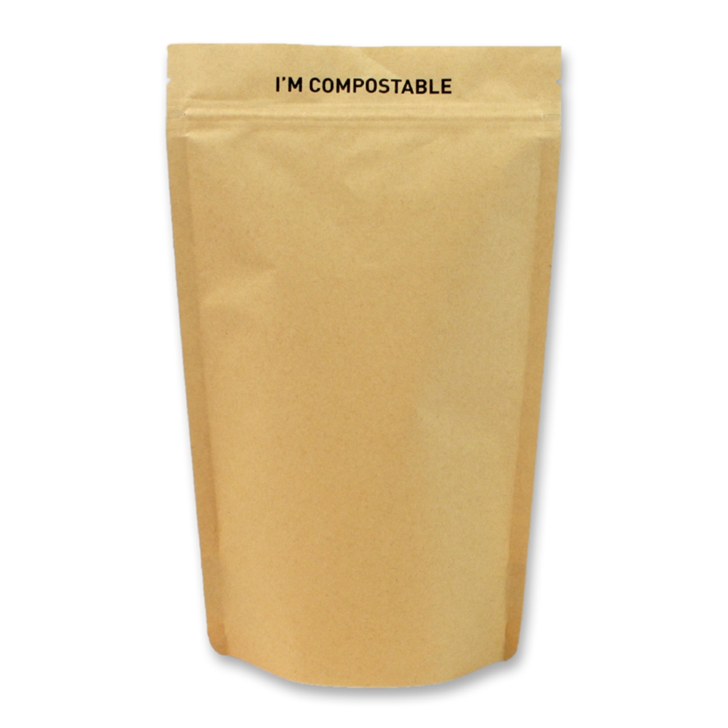Kraft / PLA Compostable Stand Up Pouches 185 mm x 290 mm Brown