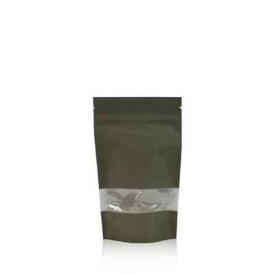 Lamizip Kraft Paper Stand Up Pouches with window 3.94 inch x 7.68 inch Dark green