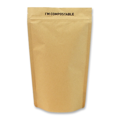 Kraft / PLA Compostable Stand Up Pouches 120 mm x 180 mm Brun